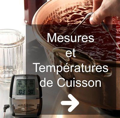 mesures en cuisine et températures de cuisson